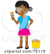 Royalty Free RF Clipart Illustration Of A Little African American Girl Painting With Orange Paint