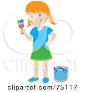 Royalty Free RF Clipart Illustration Of A Little Red Haired Caucasian Girl Painting With Blue Paint