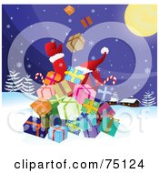 Royalty Free RF Clipart Illustration Of Santa Behind A Stack Of Christmas Presents Tossing Them Into The Sky On Christmas Eve by Paulo Resende