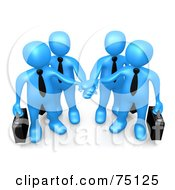 Four Blue Business People Carrying Briefcases And Standing With Their Hands Piled by 3poD
