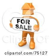 Royalty Free RF Clipart Illustration Of An Orange Person With A House Head Holding A For Sale Sign by 3poD