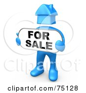 Blue Person With A House Head Holding A For Sale Sign by 3poD