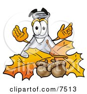 An Erlenmeyer Conical Laboratory Flask Beaker Mascot Cartoon Character With Autumn Leaves And Acorns In The Fall