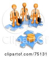 Group Of 3d Orange Businessmen Standing On Joined Puzzle Pieces And Looking At A Dollar Symbol On Another Piece by 3poD