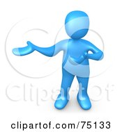Royalty Free RF Clipart Illustration Of A Blue Person Presenting by 3poD