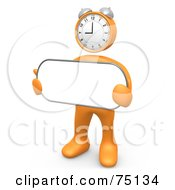 Royalty Free RF Clipart Illustration Of An Orange 3d Person With A Clock Head Holding A Blank White Sign by 3poD
