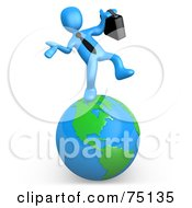 Royalty Free RF Clipart Illustration Of A Blue Person Businessman Walking On A Globe