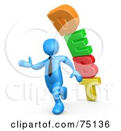 Royalty Free RF Clipart Illustration Of A Blue Person Running From Debt by 3poD