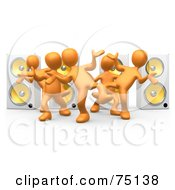 Royalty Free RF Clipart Illustration Of A Group Of 3d Orange People Dancing In Front Of Speakers