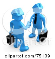 Royalty Free RF Clipart Illustration Of Two Blue House Head People Shaking Hands