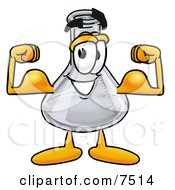 Clipart Picture Of An Erlenmeyer Conical Laboratory Flask Beaker Mascot Cartoon Character Flexing His Arm Muscles