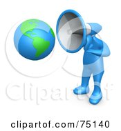 Blue Person With A Megaphone Head Pointed To A Globe by 3poD