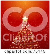Royalty Free RF Clipart Illustration Of A Starry Spiral Christmas Tree On Red by elaineitalia