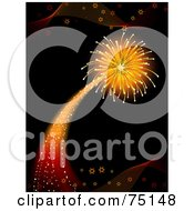 Royalty Free RF Clipart Illustration Of A Shooting And Exploding Firework On Black by elaineitalia