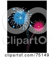 Royalty Free RF Clipart Illustration Of Shooting And Exploding Blue And Pink Fireworks On Black by elaineitalia