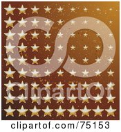 Royalty Free RF Clipart Illustration Of A Background Of Multi Sized Golden Stars On Brown by elaineitalia