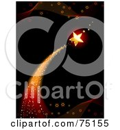Royalty Free RF Clipart Illustration Of A Star Shooting Over A Black Background With Waves by elaineitalia