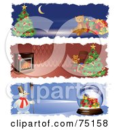 Royalty Free RF Clipart Illustration Of A Digital Collage Of Christmas Teddy Bear Fireplace And Snowman Website Banners by Eugene
