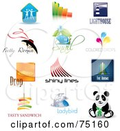Royalty Free RF Clipart Illustration Of A Digital Collage Of Couple Bar Graph Lighthouse Fashion Snail Color Droplets Lines Arrows Sandwich Ladybug And Panda Icon Logos by Eugene