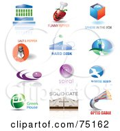 Royalty Free RF Clipart Illustration Of A Digital Collage Of Building Pepper Box Salt House Spiral Bird Gate And Optic Icon Logos
