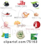 Digital Collage Of Spa Pottery Snail Pearl Butterfly Lotus Cocoon Ginkgo Beauty And Eco Logo Icons