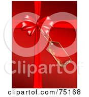 Royalty Free RF Clipart Illustration Of A Red Christmas Background With A Red Bow Ribbons And Tag by KJ Pargeter