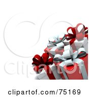 Royalty Free RF Clipart Illustration Of A Group Of 3d Red And White Gift Boxes