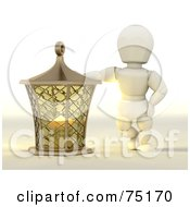 Royalty Free RF Clipart Illustration Of A 3d White Character Leaning On A Golden Candle Lantern