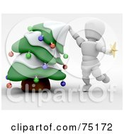 Royalty Free RF Clipart Illustration Of A 3d White Character Bending A Christmas Tree To Put The Star Topper On by KJ Pargeter