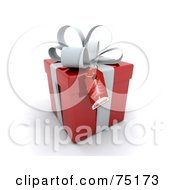 Royalty Free RF Clipart Illustration Of A Christmas Tree Gift Tag On A 3d Red And White Gift Box