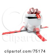 Royalty Free RF Clipart Illustration Of A White 3d Gift Box With The Red Ribbons Cut Off