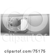 Royalty Free RF Clipart Illustration Of A Round Open Safe Vault Door by KJ Pargeter