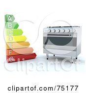 Royalty Free RF Clipart Illustration Of An Energy Rating Chart By A Modern Oven by KJ Pargeter