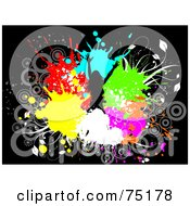 Royalty Free RF Clipart Illustration Of A Silhouetted Happy Girl In A Circle Of Colorful Splatters On Black