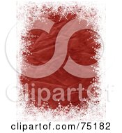 Royalty Free RF Clipart Illustration Of A Red Crinkled Background Bordered In White Snowflake Grunge