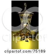 Royalty Free RF Clipart Illustration Of A Candle Illuminating A Lantern Holly And Gold Ornaments by KJ Pargeter