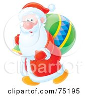 Royalty Free RF Clipart Illustration Of Kris Kringle Carrying A Green Toy Sack