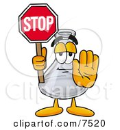 Clipart Picture Of An Erlenmeyer Conical Laboratory Flask Beaker Mascot Cartoon Character Holding A Stop Sign