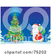 Royalty Free RF Clipart Illustration Of Kris Kringle Carrying A Toy Sack To An Outdoor Tree On Christmas Eve