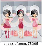 Royalty Free RF Clipart Illustration Of Three Asian Girls In Pink Dresses