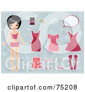 Royalty Free RF Clipart Illustration Of An Asian Girl Standing With Accessories And Clothes Over Blue