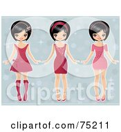 Digital Collage Of Three Asian Girls In Dresses