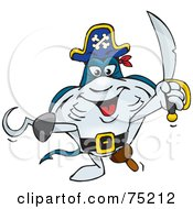 Royalty Free RF Clipart Illustration Of A Stingray Pirate With A Peg Leg