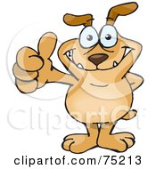 Royalty Free RF Clipart Illustration Of A Sparkey Dog Standing And Giving The Thumbs Up by Dennis Holmes Designs #COLLC75213-0087
