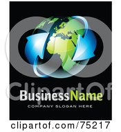 Royalty Free RF Clipart Illustration Of A Pre Made Business Logo Of Blue Arrows Around A Shiny Navy Bue And Green Globe