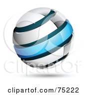 Royalty Free RF Clipart Illustration Of A Pre Made Business Logo Of A White And Blue Ring Globe by beboy #COLLC75222-0058