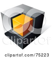 Pre Made Business Logo Of A Chrome And Orange Cube On White