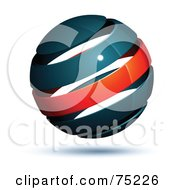 Pre Made Business Logo Of A Navy Blue And Red Globe