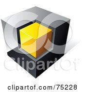 Pre Made Business Logo Of A Chrome And Yellow Cube On White