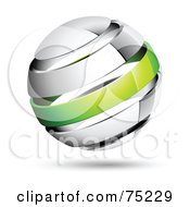 Royalty Free RF Clipart Illustration Of A Pre Made Business Logo Of A Shiny White And Green Globe by beboy